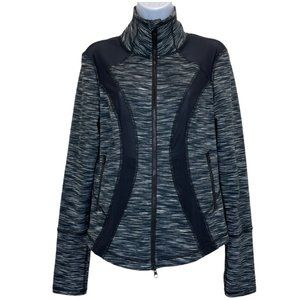 Zella Black & White Zip Jacket with mesh Details
